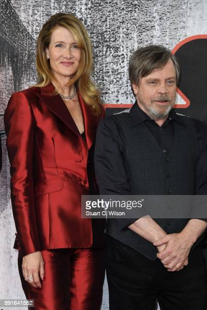 Laura Dern and Mark Hamill during the 'Star Wars The Last Jedi' photocall at Corinthia Hotel London on December 13 2017 in London England