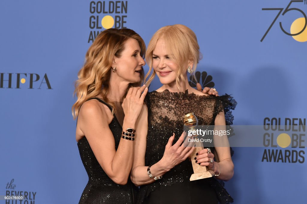 Laura Dern and Nicole Kidman attend the 75th Annual Golden Globe Awards - Press Room at The Beverly Hilton Hotel on January 7, 2018 in Beverly Hills, California.