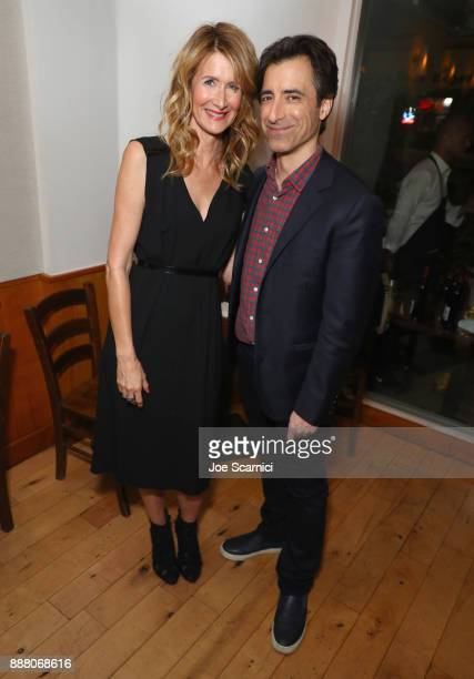 Laura Dern and Noah Baumbach attend The Meyerowitz Stories reception at Angelini Osteria on December 7 2017 in Los Angeles California