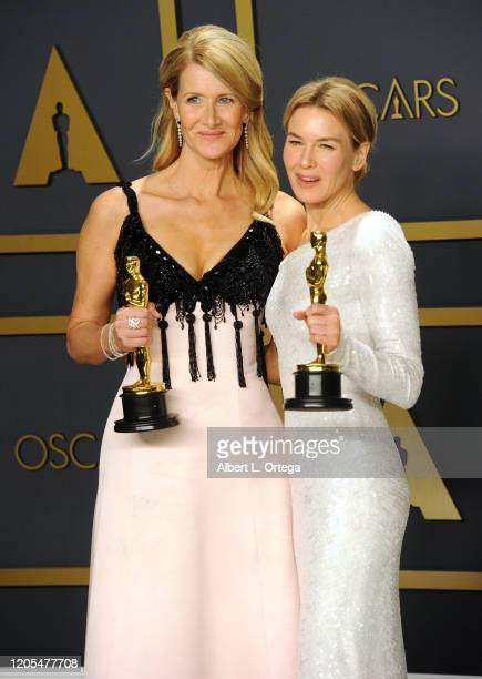 Laura Dern and Renée Zellweger pose inside The Press Room of the 92nd Annual Academy Awards held at Hollywood and Highland on February 9, 2020 in...