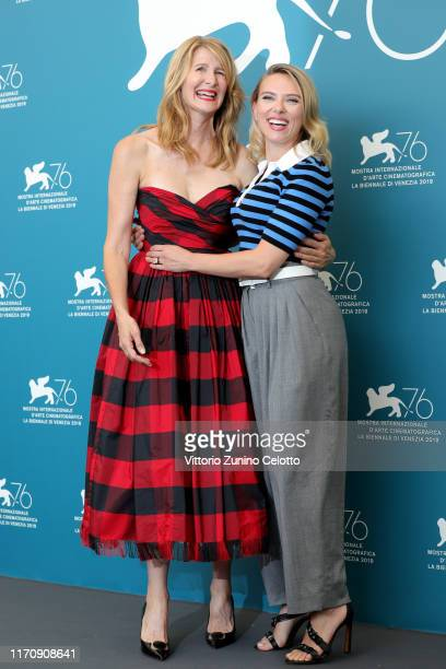 """Laura Dern and Scarlett Johansson attend the """"Marriage Story"""" photocall during the 76th Venice Film Festival at Sala Grande on August 29, 2019 in..."""