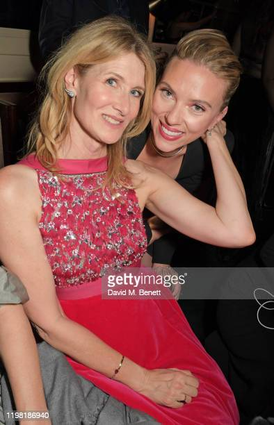 Laura Dern and Scarlett Johansson pose the Netflix BAFTA after party at Chiltern Firehouse on February 2, 2020 in London, England.