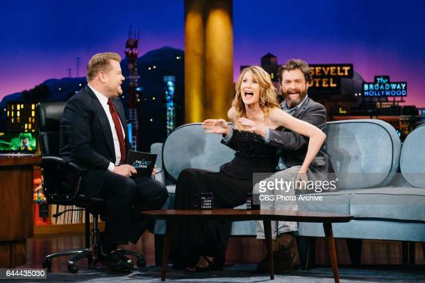 Laura Dern and Zach Galifianakis chat with James Corden during 'The Late Late Show with James Corden' Wednesday February 15 2017 On The CBS...