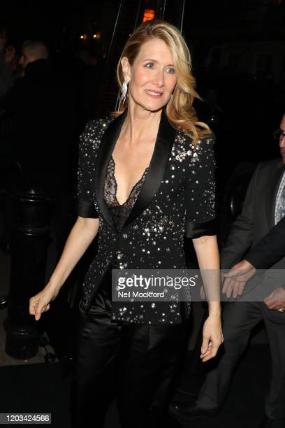 Laura Dern arrives at the Charles Finch CHANEL PreBAFTA Party at 5 Hertford Street on February 1 2020 in London England
