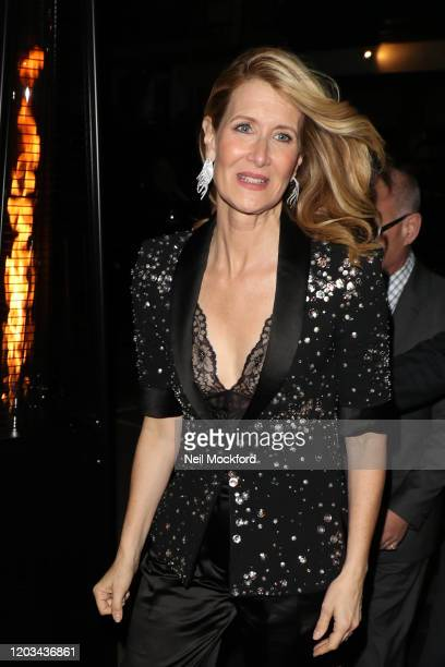 Laura Dern arrives for the Charles Finch CHANEL PreBAFTA Party at 5 Hereford Street on February 01 2020 in London England