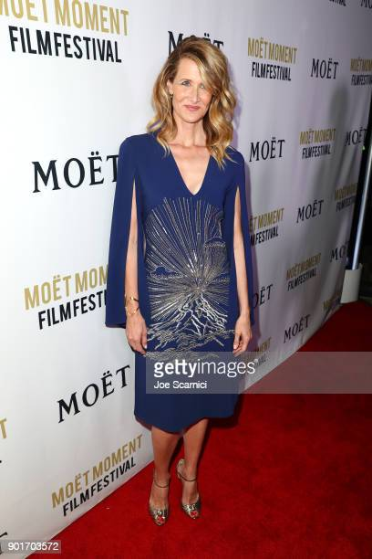 Laura Dern attends Moet Chandon celebrates the 3rd annual Moet Moment Film Festival and kicks off Golden Globes week at Poppy on January 5 2018 in...