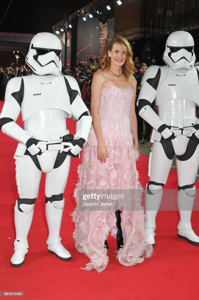 Laura Dern (C) attends the European Premiere of 'Star Wars: The Last Jedi' at the Royal Albert Hall on December 12, 2017 in London, England.