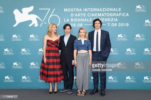 Laura Dern Director Noah Baumbach Scarlett Johansson and Adam Driver attends Marriage Story photocall during the 76th Venice Film Festival at Sala...