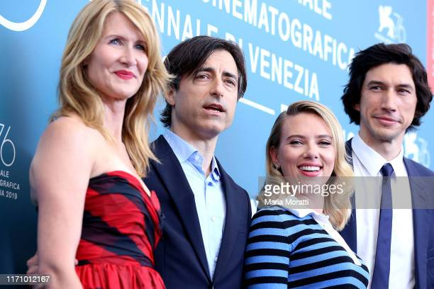 Laura Dern Director Noah Baumbach Scarlett Johansson and Adam Driver attend Marriage Story photocall during the 76th Venice Film Festival at Sala...