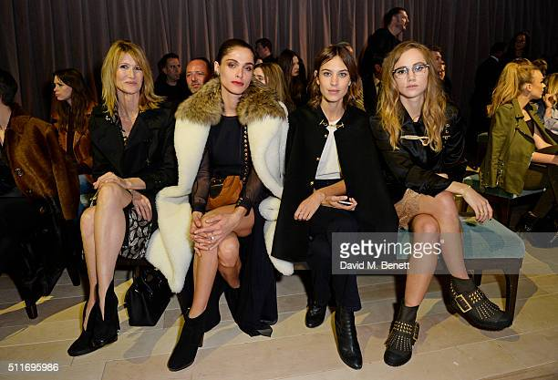 Laura Dern Elisa Sednaoui Alexa Chung and Suki Waterhouse wearing Burberry at the Burberry Womenswear February 2016 Show at Kensington Gardens on...