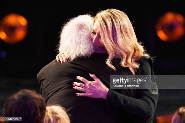 Laura Dern embraces father Bruce Dern as she wins Outstanding Performance by a Female Actor in a Supporting Role for 'Marriage Story' during the 26th...