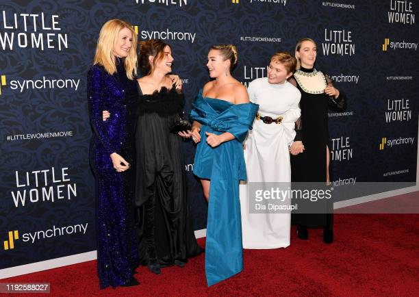 "Laura Dern, Emma Watson, Florence Pugh, Eliza Scanlen and Saoirse Ronan attend the ""Little Women"" World Premiere at Museum of Modern Art on December..."
