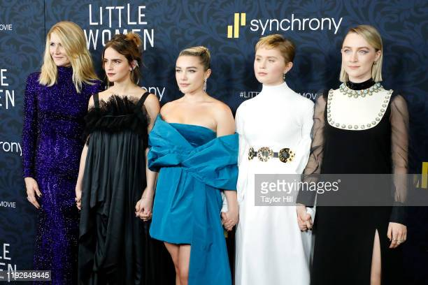 "Laura Dern, Emma Watson, Florence Pugh, Eliza Scanlen, and Saoirse Ronan attend the world premiere of ""Little Women"" at Museum of Modern Art on..."