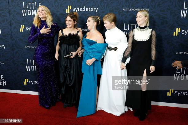 Laura Dern Emma Watson Florence Pugh Eliza Scanlen and Saoirse Ronan attend the world premiere of Little Women at Museum of Modern Art on December 07...