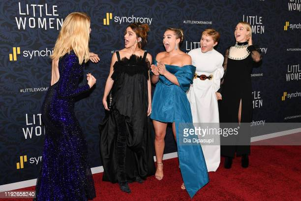 Laura Dern Emma Watson Florence Pugh Eliza Scanlen and Saoirse Ronan attend the Little Women World Premiere at Museum of Modern Art on December 07...