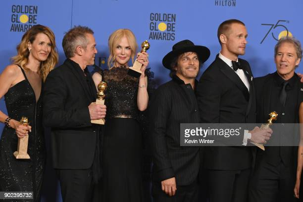 Laura Dern JeanMarc Vallee Nicole Kidman Nathan Ross Alexander Skarsgård and David E Kelley pose with the Best Television Limited Series or Motion...