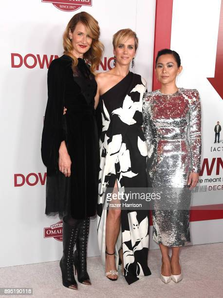 Laura Dern Kristen Wiig and Hong Chau attend the Los Angeles Special Screening of 'Downsizing' at The Regency Village Theatre onDecember 18 2017 in...