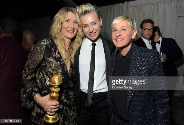 Laura Dern Portia de Rossi and Ellen DeGeneres attend 2020 Golden Globes After Party on January 05 2020 in Los Angeles California
