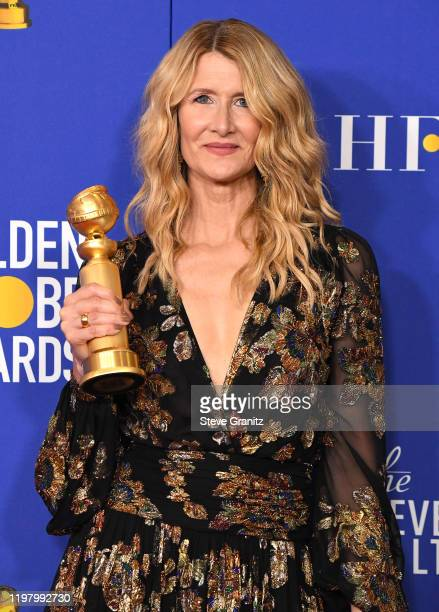Laura Dern poses in the press room at the 77th Annual Golden Globe Awards at The Beverly Hilton Hotel on January 05, 2020 in Beverly Hills,...