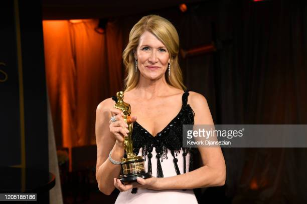 "Laura Dern poses with the award for Best Actress in a Supporting Role for ""Marriage Story"" attends the 92nd Annual Academy Awards Governors Ball at..."