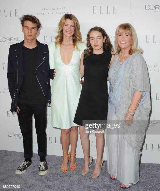 Laura Dern son Ellery Harper daughter Jaya Harper and mom Diane Ladd arrive at ELLE's 24th Annual Women in Hollywood Celebration at Four Seasons...