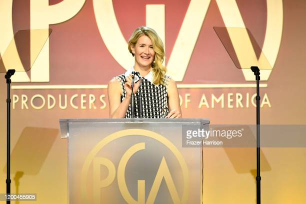 Laura Dern speaks onstage during the 31st Annual Producers Guild Awards at Hollywood Palladium on January 18, 2020 in Los Angeles, California.