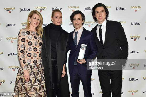 Laura Dern, Uma Thurman, Noah Baumbach, and Adam Driver pose backstage with an award during the IFP's 29th Annual Gotham Independent Film Awards at...