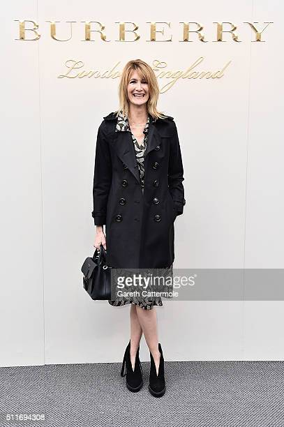 Laura Dern wearing Burberry at the Burberry Womenswear February 2016 Show at Kensington Gardens on February 22 2016 in London England