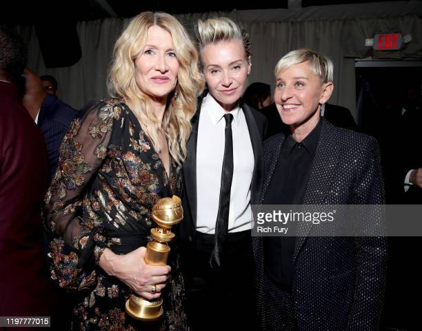 Laura Dern winner of Best Supporting Actress in a Motion Picture for Marriage Story Portia de Rossi and Ellen DeGeneres attend the Netflix 2020...