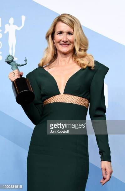 Laura Dern, winner of Outstanding Performance by a Female Actor in a Supporting Role for 'Marriage Story', poses in the press room during the 26th...
