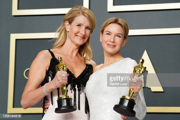 "Laura Dern, winner of the Actress in a Supporting Role award for ""Marriage Story,"" and Renée Zellweger, winner of the Actress in a Leading Role award..."