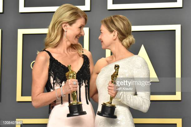 Laura Dern winner of the Actress in a Supporting Role award for Marriage Story and Renée Zellweger winner of the Actress in a Leading Role award for...