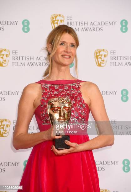 Laura Dern wins the Best Supporting Bafta for her role in Marriage Story in the Winners Room during the EE British Academy Film Awards 2020 at Royal...