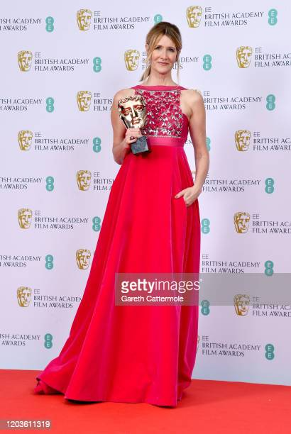 Laura Dern with the Best Supporting Actress award poses in the Winners Room during the EE British Academy Film Awards 2020 at Royal Albert Hall on...