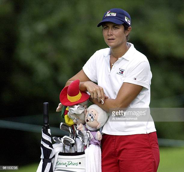 Laura Diaz at 6 under par waits to tee up on the 8th hole at the LPGA Jamie Farr Kroger Classic August 11 2003 in Sylvania Ohio