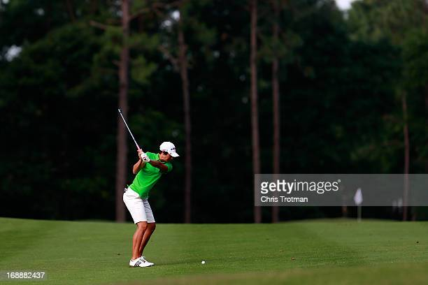Laura Diaz hits her second shot on the 11th hole during round one of the Mobile Bay LPGA Classic at the Crossings Course at the Robert Trent Jones...