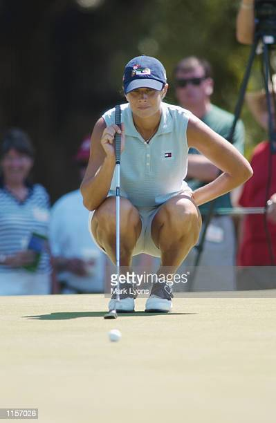 Laura Diaz looks over a putt during the third round of the Jamie Farr Kroger Classic on July 13, 2002 at Highland Meadows GC in Sylvania, Ohio.