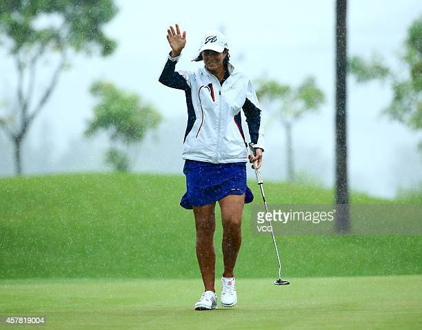Laura Diaz of the United States in action during day two of the 2014 Blue Bay LPGA at Jian Lake Blue Bay Golf Course on October 24 2014 in Hainan...