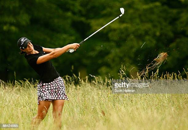 Laura Diaz plays a shot from the rough on the tenth hole during the first round of the McDonald's LPGA Championship Classic at the Bulle Rock Golf...