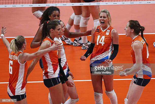 Laura Dijkema and Maret BalkesteinGrothues of Netherlands celebrate a point during the Women's Bronze Medal Match between Netherlands and the United...