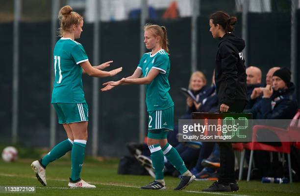 Laura Donhauser of Germany comes on for Lena Uebach of Germany during the 14 Nations Tournament match between U19 Women's Germany and U19 Women's...