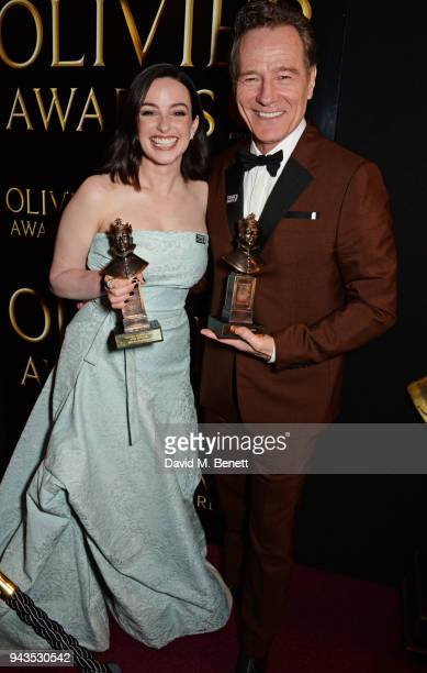 Laura Donnelly winner of the Best Actress award for The Ferryman and Bryan Cranston winner of the Best Actor award for Network pose in the press room...