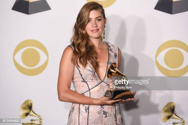 Laura Dreyfuss attends 60th Annual GRAMMY Awards Press Room at Madison Square Garden on January 28 2018 in New York City