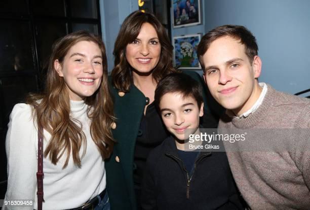 Laura Dreyfuss Mariska Hargitay son August Hermann and Taylor Trensch pose backstage as Taylor Trensch joins the cast of 'Dear Evan Hansen' on...