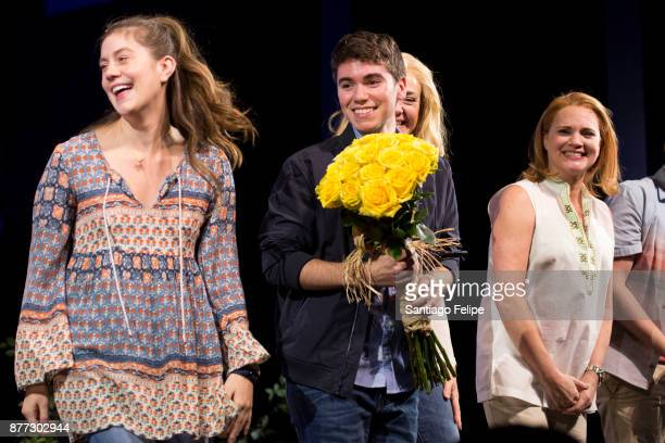Laura Dreyfuss Noah Galvin and Jennifer Laura Thompson take a bow onstage with the cast of 'Dear Evan Hansen' at Music Box Theatre on November 21...