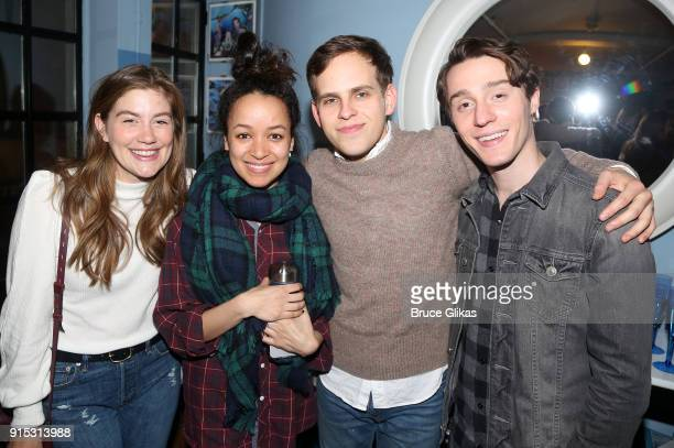 Laura Dreyfuss Olivia Puckett Taylor Trensch and Michael Lee Brown pose backstage as Taylor Trensch joins the cast of 'Dear Evan Hansen' on Broadway...