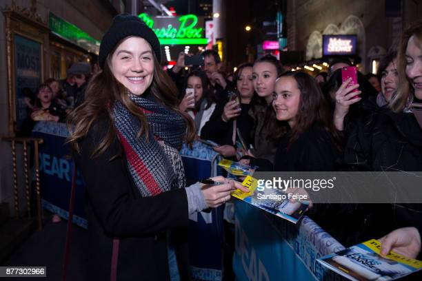 Laura Dreyfuss signs autographs for fans at Music Box Theatre on November 21 2017 in New York City