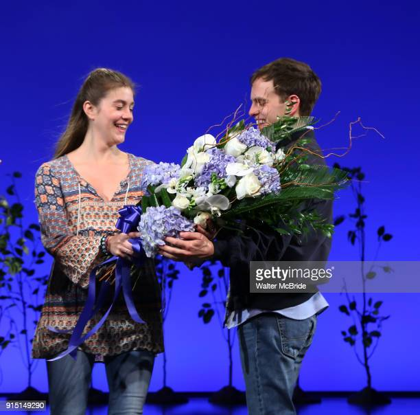 Laura Dreyfuss with Taylor Trench as he takes his bows as the newest Evan in 'Dear Evan Hansen' on Broadway at the Music Box Theatre on February 6...