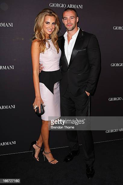 Laura Dundovic and Kris Smith arrive at the Giorgio Armani Beauty Counter Official Opening at MYER Sydney City on April 16 2013 in Sydney Australia