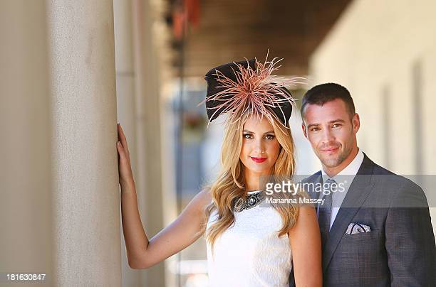 Laura Dundovic and Kris Smith during the Melbourne Cup Carnival Spring Fashion Moment at The Mint Cafe on September 23 2013 in Sydney Australia